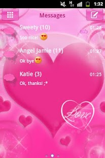 Pink Love Theme GO SMS Pro- screenshot thumbnail