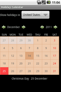 Holiday Calendar - screenshot thumbnail