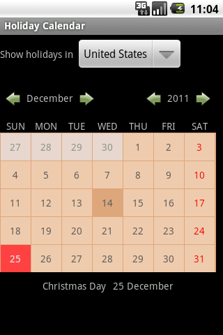 Holiday Calendar - screenshot