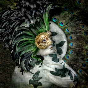 Charade by Joan Blease - Digital Art People ( venice carnival, feather headress, mime, feathers )
