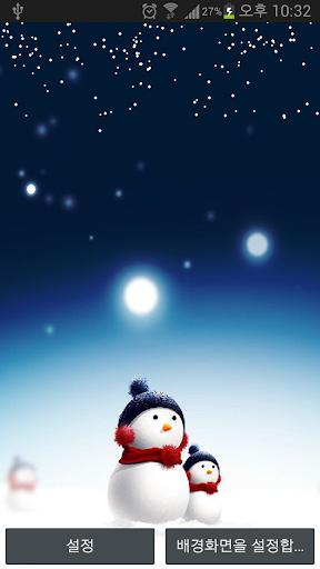 눈날리는 라이브배경 눈사람