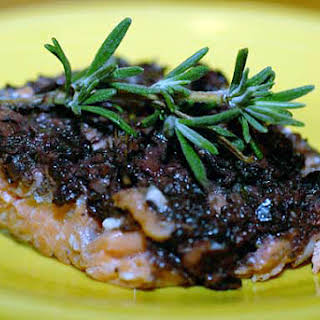 Salmon with Anchovy Olive Tapenade.