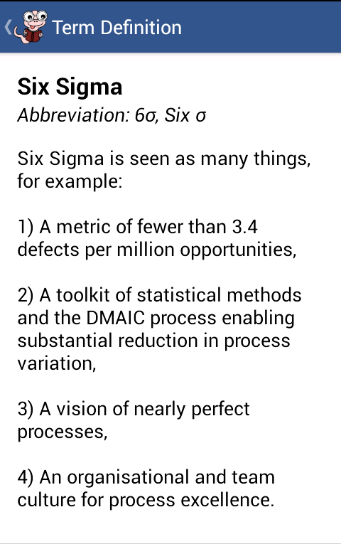 Glossary for Six Sigma- screenshot