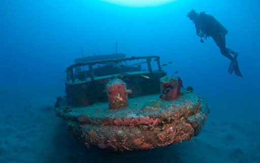 A shipwreck off the coast of St. Eustatius in the Caribbean.