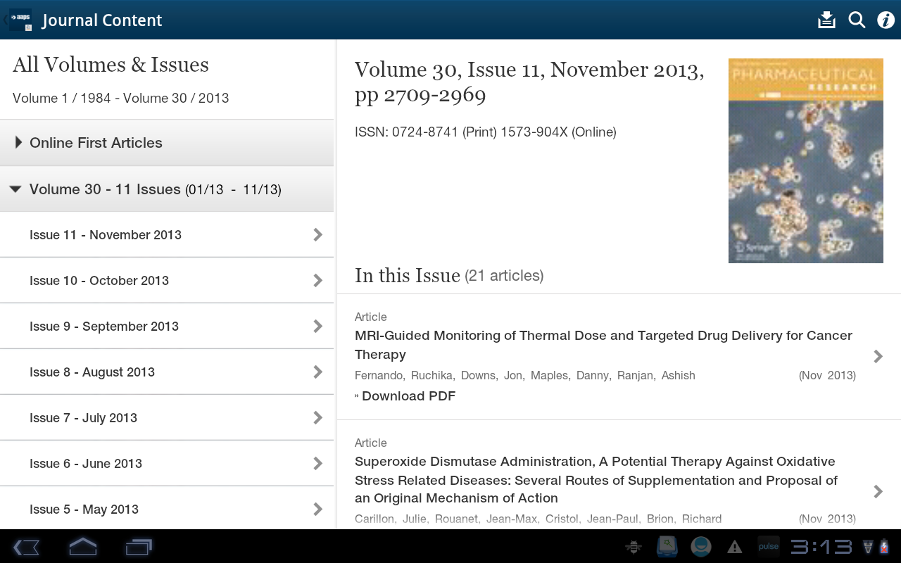 AAPS Journals- screenshot
