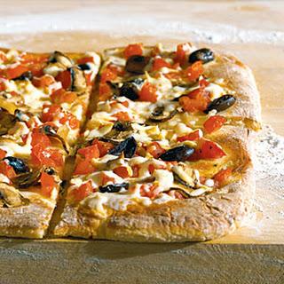 Tomato, Mushroom, and Mozzarella Pizza.