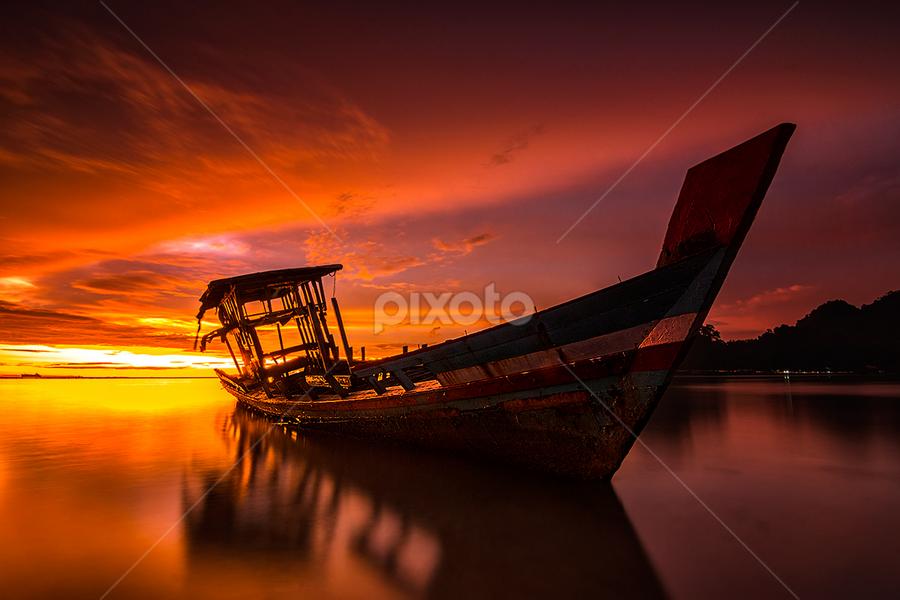 Shipwreck by Ade Noverzan - Transportation Boats ( shipwreck, sunset, twilight, beach, dusk )
