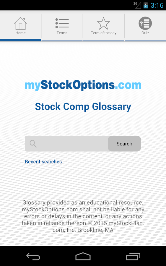 Stock Compensation Glossary- screenshot