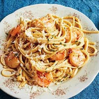 Poblano Cream Pasta with Shrimp