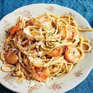 Poblano Cream Pasta with Shrimp.