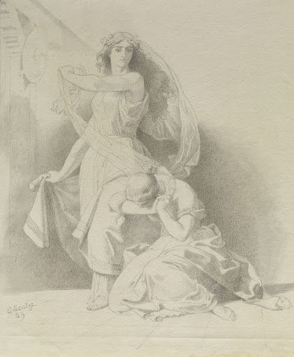 Woman Weeping at the Feet of Another