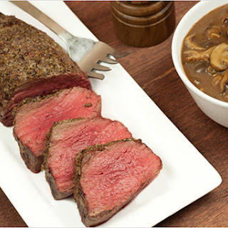 Roasted Beef Tenderloin with Mushroom-Port Sauce.