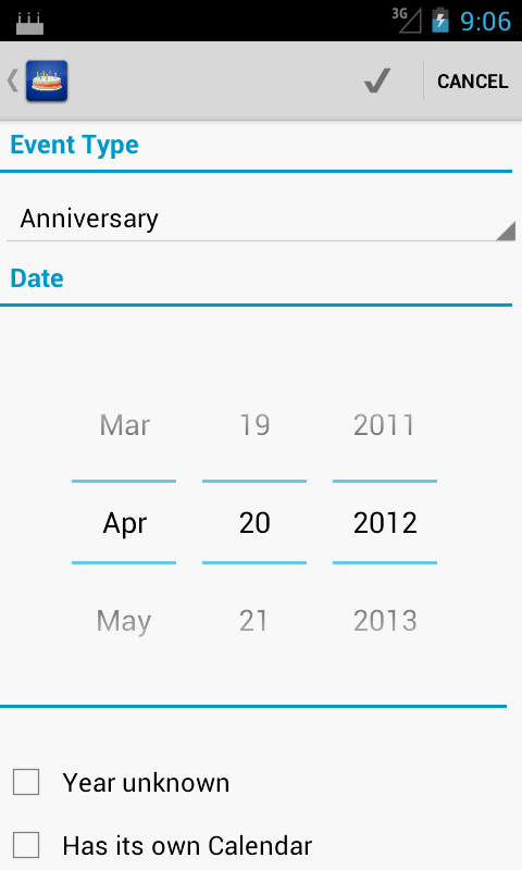 Birthdays - screenshot