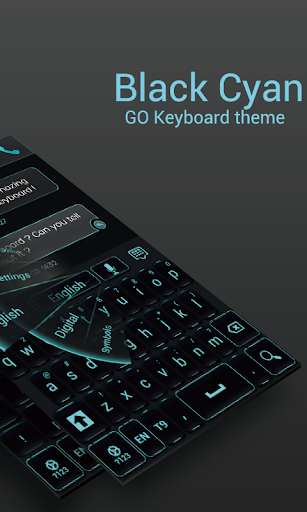 GO Keyboard Black Cyan Theme