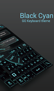 GO Keyboard Black Cyan Theme