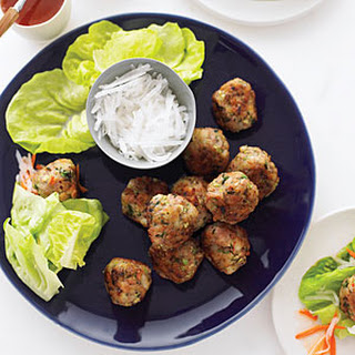 Shrimp and Pork Meatball Wraps with Vietnamese Dipping Sauce