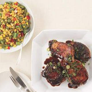 Asian-Style Barbecue Pork Chops and Succotash.