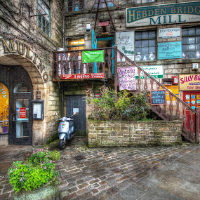 Hebden Bridge by Simon Sweetman - City,  Street & Park  Street Scenes ( england, stairs, hdr, arch, yorkshire, shops, street, scooter,  )