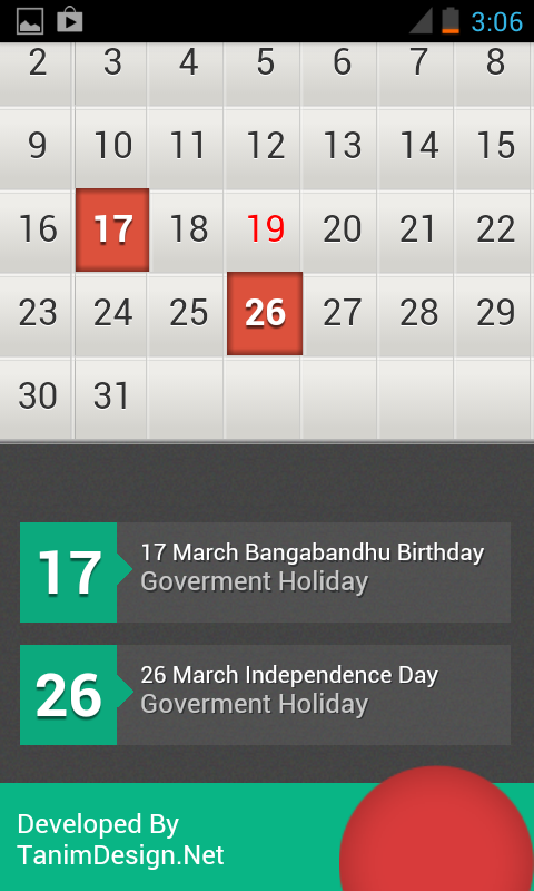 Bangla Holiday Calender - screenshot