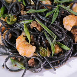 Black Spaghetti with Rock Shrimp and Chorizo