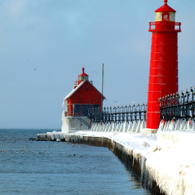 Frostbite by Theodore Schlosser - Landscapes Beaches ( grand haven, lake michigan, ice, pier,  )
