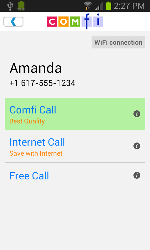 Comfi Free International Call - screenshot
