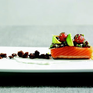 Richard Blais's Barely Smoked Salmon with Pumpernickel-Avocado-Egg Salsa and 'Everything Bagel' Vinaigrette