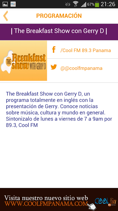Cool FM: captura de pantalla