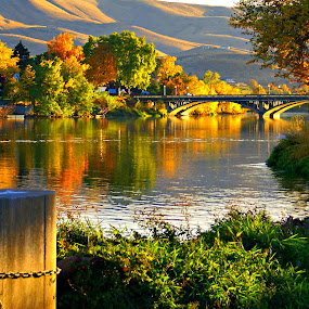 River bridge by Gaylord Mink - Landscapes Sunsets & Sunrises ( sunset, fall foliage, bridge, riverview, river,  )