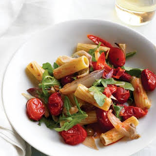 Pasta with Roasted Vegetables and Arugula.