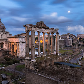 Roman Ruins by Stephen Bridger - City,  Street & Park  Historic Districts ( europe, columns, travel, historic, roma, ancient, italia, rome, ruins, long exposure, roman, italy, travel photography )