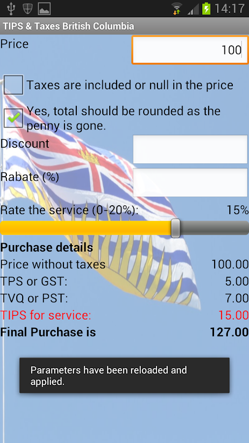 Tips & Taxes British Columbia- screenshot