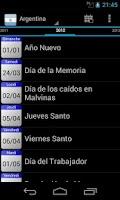 Screenshot of Holidays