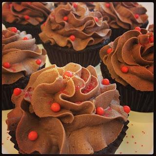 Sriracha Chocolate Cupcakes with Truffle Filling.