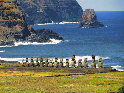 Ahu Tongariki is the largest ahu (stone platform) on Easter Island. It contains 15 moai (statues), including an 86-ton moai that was the heaviest ever built on the island.