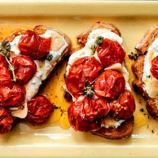 Cherry Tomato Crostini With Homemade Herbed Goat Cheese.
