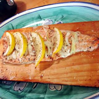 Canadian Cedar Planked Salmon.