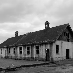 Old Farm Building by Brent Monique Makenzie Moran - Black & White Buildings & Architecture ( canon, building, old, black and white, skagit valley, dairy, skagit county, canon eos, canon eos 70d, farm, washington, eos, washington state, barn, dairy farm,  )