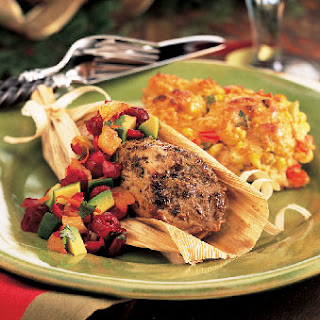 Spice-Rubbed Pork Tenderloins in Corn Husks with Cranberry-Avocado Salsa