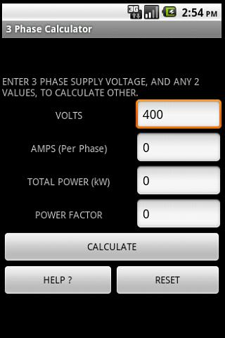 3 PHASE POWER CALCULATOR- screenshot