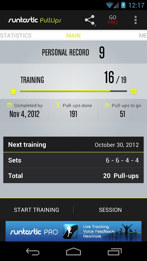 Runtastic Pull-ups Workout- screenshot