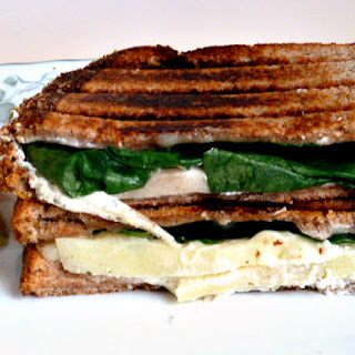 Swiss Cheese, Goat Cheese, Apple, and Spinach Grilled Cheese.
