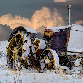 Winter Tractor by Greg Harcharik - Transportation Other ( winter, vintage, wyoming, gillette, tractor )