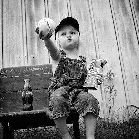 Baseball isn't just for boys by Elizabeth Haag - Black & White Portraits & People (  )