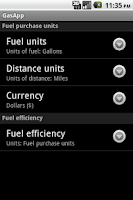 Screenshot of GasApp Lite