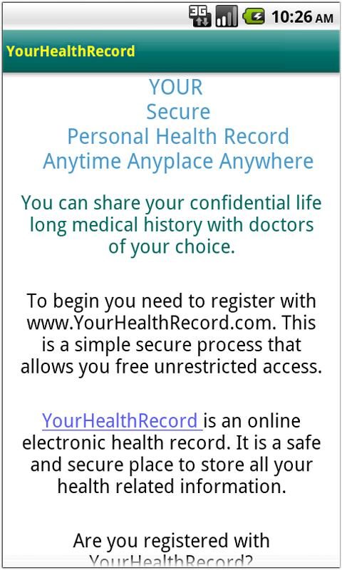 YourHealthRecord- screenshot