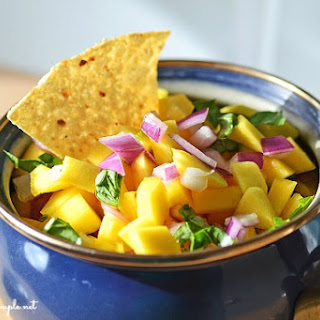 Easy Mango Salsa with Basil-A Healthy Game Day Salsa.