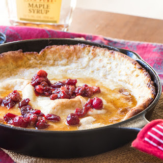 Eggnog Dutch Baby Pancakes with Cranberries | #SundaySupper