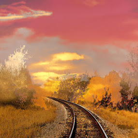 Railroad To Your Dreams by Scott Walker - Digital Art Things ( railroad tracks, dreams, railroad, fusion )