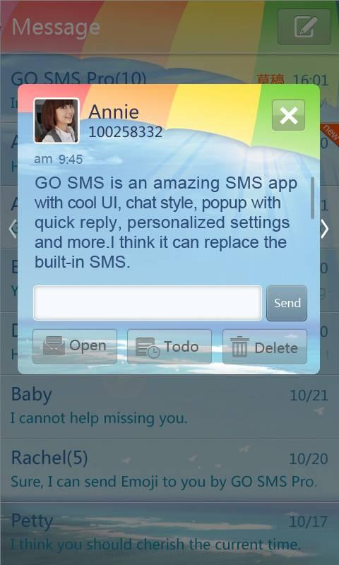 GO SMS Pro Summer Theme - screenshot
